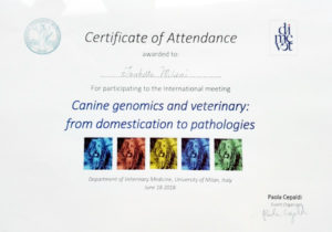 Certificate of Attendence Canine Genomics and veterinary from domestication to pathologies 2018